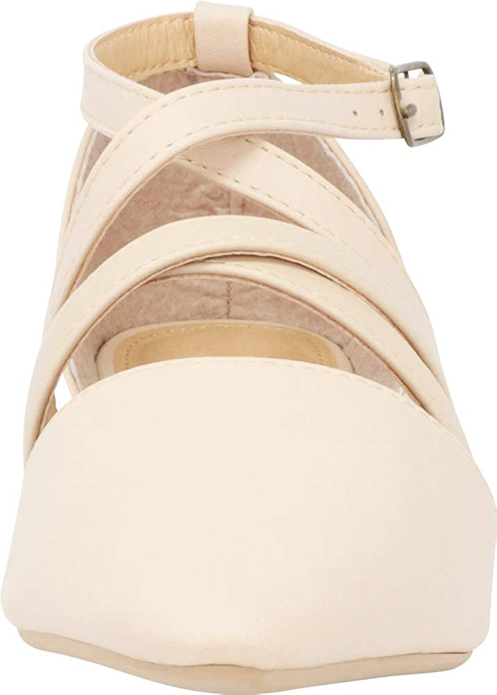 Cambridge Select Womens Pointed Toe DOrsay Crisscross Strappy Ballet Flat