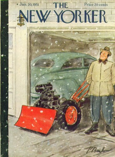 New Yorker cover Barlow man with new snowplow grins at starting storm 1/20 1951