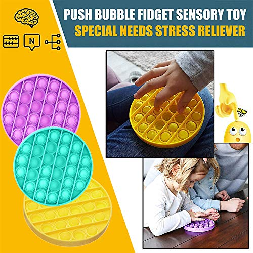 Pop Its Fidget Sensory Toy for The Old and Young,Autism Special Needs and Anti-Anxiety Stress Reliever Toys,Food Grade Silicone Orange Round