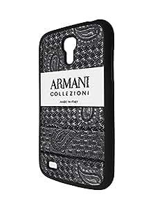 Armani Collezioni Logo Case Fundas for Samsung Galaxy [S4 Mini] (I9195), Personalized Brand Logo Galaxy S4 Mini Phone Fundas Case Protective Hard Back Case Excellent Galaxy S4 Mini Black
