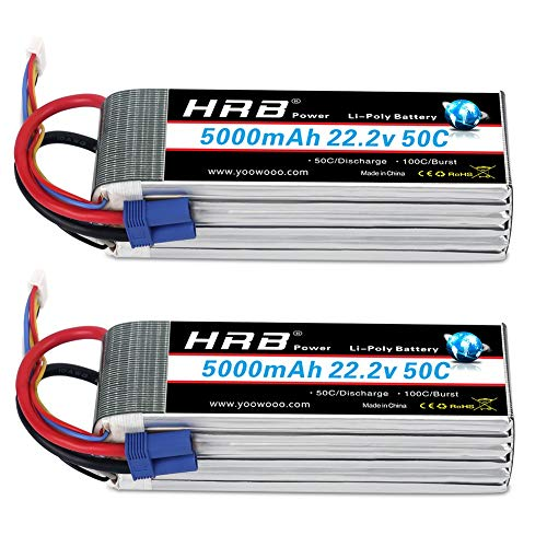 HRB 2pcs 6S 5000mAh 22.2v 50C-100C with EC5 Plug RC Lipo Battery for RC Quadcopter Airplane Helicopter Car Truck 500 600 Helicopter(6.1×1.89×1.81inch)