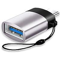 YFang Adaptador USB C a USB 3.0 OTG(2 Paquetes), Convertidor de Aluminio Tipo C con Tira para MacBook Pro 2018/2017, MacBook Air 2018, Pixel 3, DELL XPS y Más Dispositivos de Tipo C