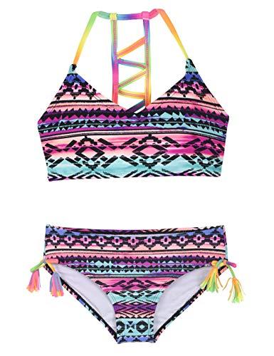 (Hilor Girl's Strappy Bikini Set Two Piece Swimsuits Side Tie Hipster Swimwear Tassels Tankini Set Stripes L/10-12)