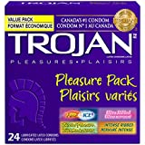 TROJAN Pleasure Pack Assorted Lubricated Latex Condoms, 24 Count