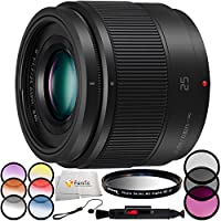 Panasonic Lumix G 25mm f/1.7 ASPH. Lens Includes 3PC Filter Kit (UV, CPL, FLD) + 6PC Graduated Color Filter Kit + UV Filter + Lens Cleaning Pen + Lens Cap Keeper & More!