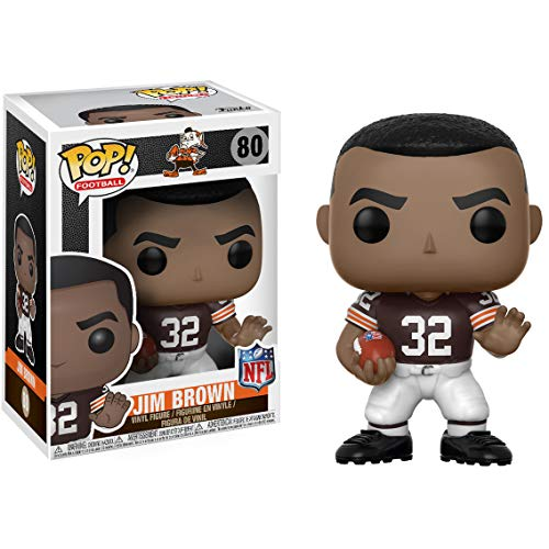 Funko Jim Brown [Browns Home] POP! Football Vinyl Figure & 1 POP! Compatible PET Plastic Graphical Protector Bundle [#080 / 20194 - - Football Pop