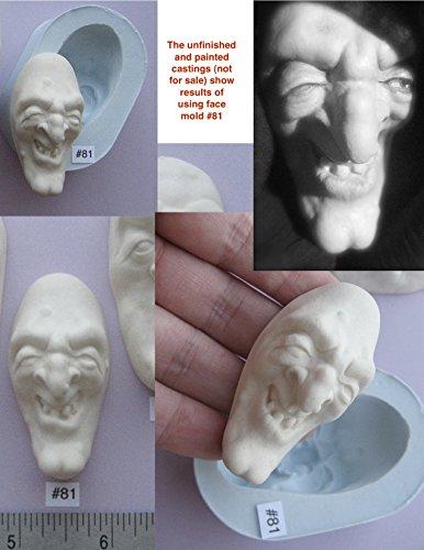 #0081 - Flexible FG Silicone Press Mold of a Doll Face Cab (warlock or creepy -