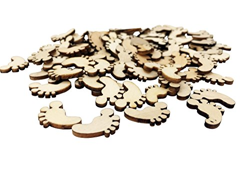Baby Wooden Footprint Wooden Scrapbooking Embellishments 100 Pack Blank Wood Table Scatter for DIY Craft Baby Shower Baptism Christening Baby Boy Girl Birthday Party Decoration (Brown-Foot) (Craft Foam Feet)