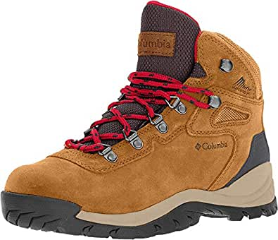 Columbia Women's Newton Ridge Plus Waterproof Amped Hiking Boot, Elk, Mountain Red, 6 Wide US
