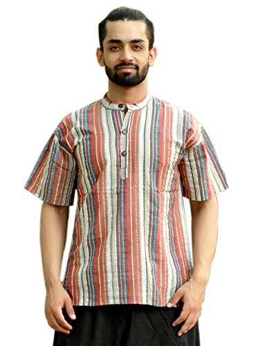Sarjana Handicrafts Men's Cotton Striped Shirt Short Casual Kurta ()