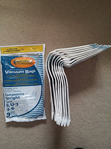 Panasonic Types U, U-3, U-6 Vacuum Bags Microfiltration with Closure - 9 Pack (Vacuum Cleaner Bag Panasonic compare prices)