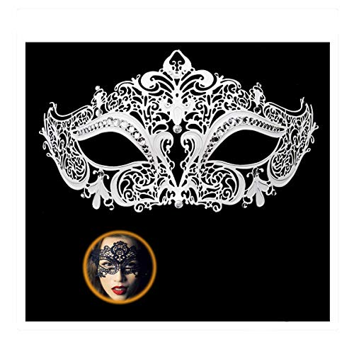 Masquerade Mask for Women Shiny Rhinestone Venetian Party Prom Ball Metal Mask (Kitty White) -
