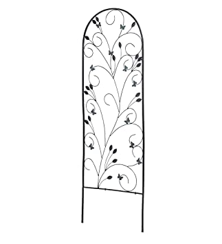 Decorative Metal Yard Garden Trellis With Butterflies Black Frame Scrolled  Vine Design For Climbing Plants And
