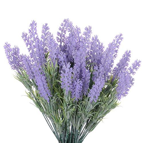 10 Bundles Artificial Lavender Flocked Lavender Bouquet in Purple Flowers Arrangements Bridal Wedding Bouquet for Home DIY Floor Garden Office Wedding Decor (Vase Floor Fillers)