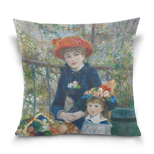 SUABO Two Sisters on the Terrace by Pierre-Auguste Renoir Cotton Velvet Decorative Throw Pillow Case Cushion Cover 20 X 20 inch (Terrace Auguste On Renoir Pierre The)