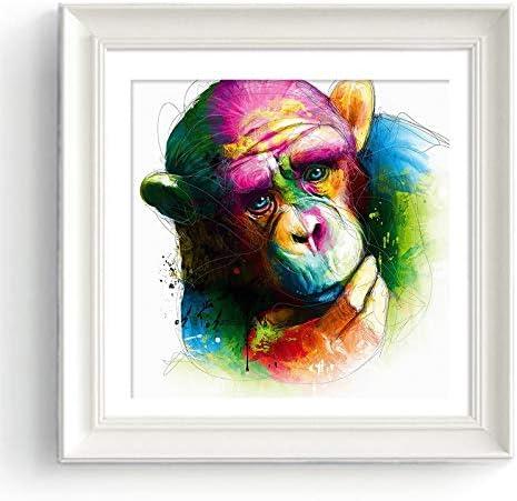 ganlanshu Decoración del hogar Pensamiento Colorido Mono Imprimir Arte Sala decoración de la Pared imágenes de Animales,Pintura sin Marco,75x75cm: Amazon.es: Hogar
