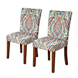Kinfine K6805-A727 Parsons Classic Dining Chair, Set of 2, Colorful Paisley