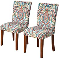 Kinfine K6805-A727 Parsons Classic Dining Chair Room Tables, Set of 2, Colorful Paisley