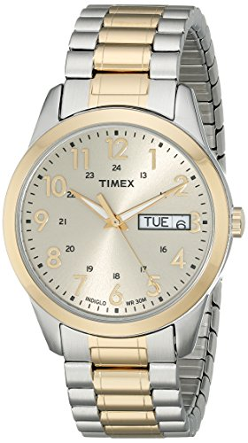 (Timex Men's T2M935 South Street Sport Two-Tone Stainless Steel Expansion Band Watch)