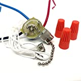 CeilingFanSwitch Zing Ear ZE-110 Ceiling Fan Light Switch 3 Way 3-Wire Replacement Pull Chain Switch (Nickel)