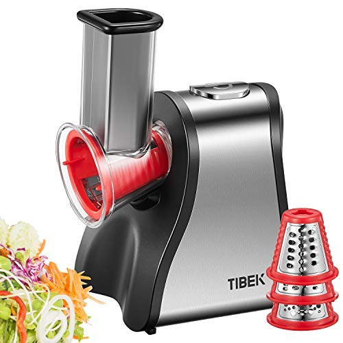 Electric Slicer Shredder/Graters Professional, TIBEK 200W Salad Maker Machine Automatic with One-Touch Easy Control and 5 Free Attachments for Fruits, Vegetables, Cheeses and Fruit Smoothie