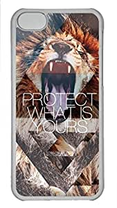 Skin Case for iPhone 5C Plastic Case Back Cover for iPhone 5C With Roaring Lion and Quote