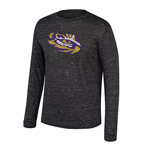 Top of the World NCAA Men's Lsu Tigers Dark Heather Hearitage Tri-blend Long Sleeve Tee Black Heather Large
