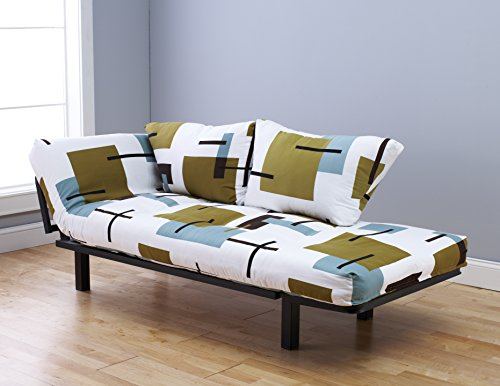 Jerry Sales Bright Day Lounger Bed Futon Mattress Black Metal Frame Twin Size Sofa Bed ()