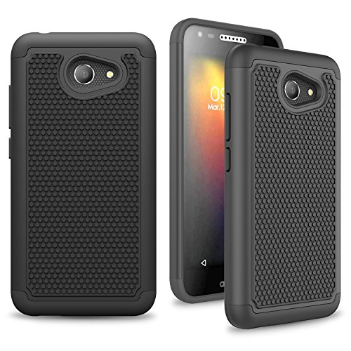 Alcatel A30 / Kora Case, INNOVAA Anti-Slip Shockproof Soft Silicone Dual-Layer Durable Armor Case W/Free Touch Screen Stylus Pen - Black