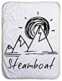 Steamboat Springs, Colorado Mountain and Sunset - Sherpa Baby Blanket (40'' x 30'')