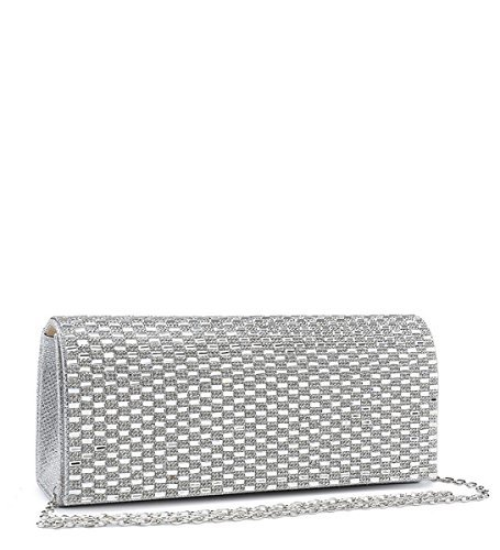Dressy Diamante Occasion Evening Prom Bags Party White Ladies Clutch Womens N14 Foldover 5WcBYwH