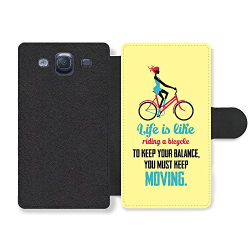 a Bicycle Albert Einstein Life & Love Inspirational Quote Faux Leather case for Samsung Galaxy S3 ()