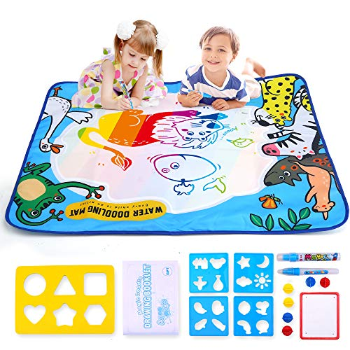 Jar Melo Water Drawing Mat Magic Doodle Kids Toys Painting Writing Doodle Rainbow Board Toy for Age 1 2 3 4 5 6 7 8 9 10 Year Old Girls Boys Size 31.5