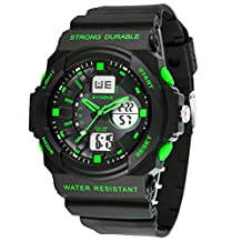 Waterproof Green Mens Sport Watches for Running and Swimming
