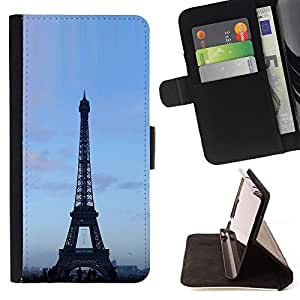 DEVIL CASE - FOR Samsung Galaxy S4 IV I9500 - Architecture Eiffel Tower Blue Sky - Style PU Leather Case Wallet Flip Stand Flap Closure Cover