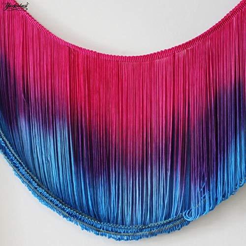 Kamas Latin Fringe Tassel Dip Dye Ombre Fringes Dance Macrame Tutu Trimming Rayon Sewing Lace Soft Trimming Samba 25-30CM - (Size: 25CM Long Fringe, Color: Pink Blue)