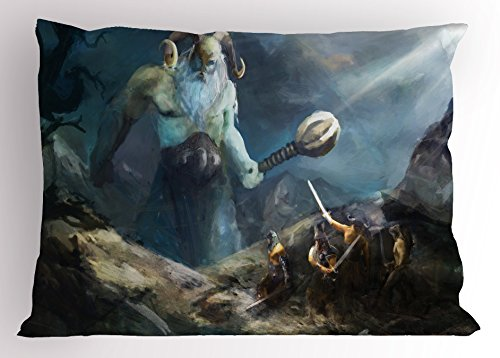 Lunarable Viking Pillow Sham, Heroes of Valhalla with Mythological Frost Giant Norse Culture Watercolor Design, Decorative Standard King Size Printed Pillowcase, 36