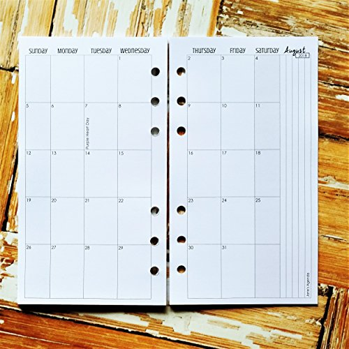 April-December 2018 Monthly Calendar Personal Planner Inserts for use with Personal size Filofax or similar