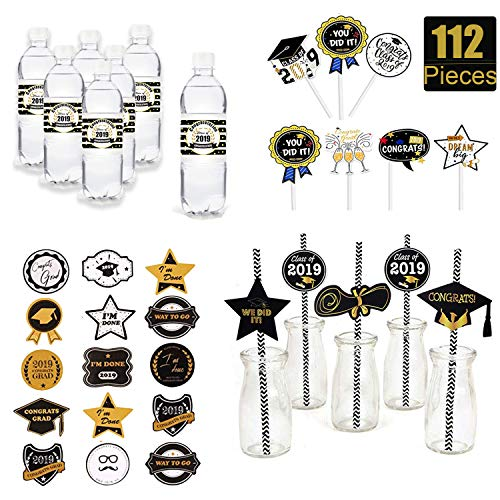 Nouvelife 2019 Graduation Party Table Favor 112 Pieces Include 24Pcs Cupcake toppers, 24Pcs Paper Straw and 24Pcs Water Bottle Sticker Labels with 40Pcs Stickers Black Gold Congrats Grad Party Supplies ()