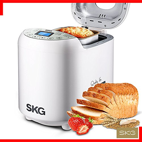 SKG Automatic Bread Machine 2LB - Beginner Friendly Programmable Bread Maker (19 Programs, 3 Loaf Sizes, 3 Crust Colors, 15 Hours Delay Timer, 1 Hour Keep Warm) - Gluten Free Whole Wheat Breadmaker