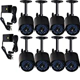 VideoSecu 8 CCTV IR Infrared Day Night Vision Weatherproof Bullet Security Camera 520TVL High Resolution for Home DVR Surveillance System with Power Supplies WK0