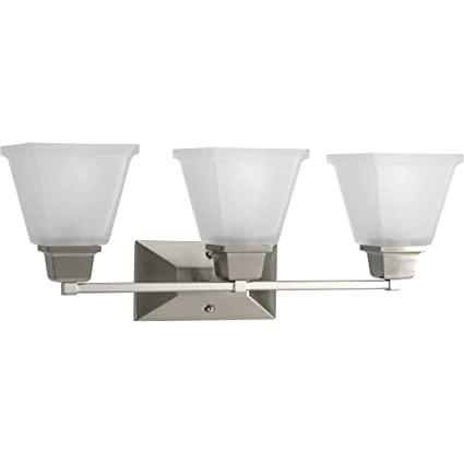 Progress lighting p2743 09 3 light bath fixture with square etched glass and can
