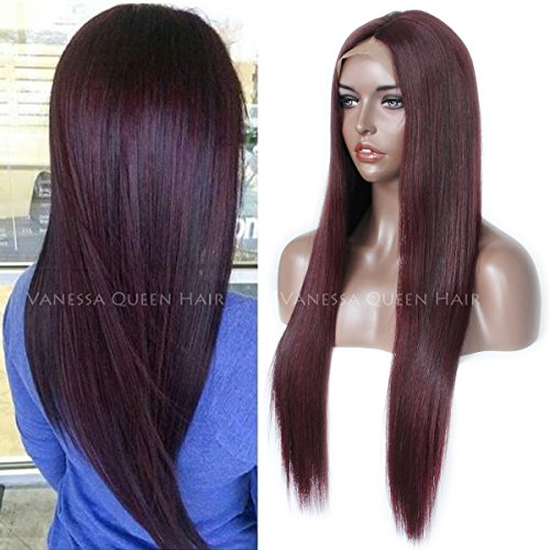 Vanessa Queen Fashion Burgundy Full Lace Human Hair Wigs Silky Straight Lace Front Wig Virgin Hair Wigs 130 Density (18Inch, lace front wig)