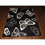 Retro Novelty Woven Backing Mat 120cm x 160cm Approx 6x4 Butterfly Rug In Black by OrientalRugCompany