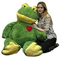 Giant Valentines Day Stuffed Frog 48 Inch Soft 4 Foot Plush Animal, Heart on Chest to Express Love