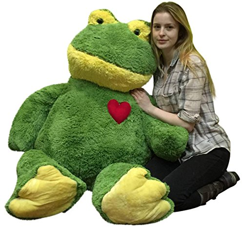 Giant Valentines Day Stuffed Frog 48 Inch Soft 4 Foot Plush Animal, Heart on Chest to Express Love ()