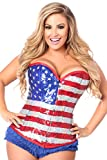 Daisy Corsets Women's Top Drawer Steel Boned Sequin Flag Corset, Red/White/Blue, 5X