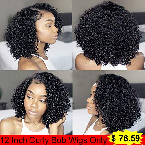 IUEENLY Brazilian 13x4 Short Bob Wigs Lace Front Human Hair Curly Wigs For Black Women Pre Plucked with Baby Hair Natural Black 130% Density (12inch-Curly) from IUEENLY