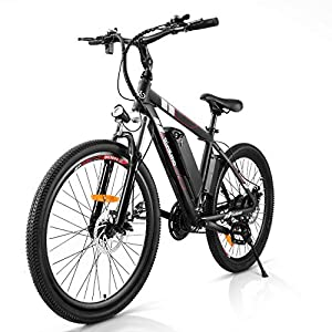 Rinkmo Electric Bike Adults Electric Mountain Bike 26in Power Assist Commuter Bicycle,20mph Ebike with Removable 10ah Battery, Professional 21 Speed Gears Disc Brakes Aluminum Bike