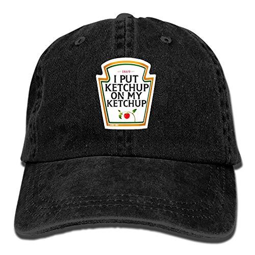 Men & Women Cotton Adjustable Cowboy Hat - I Put Ketchup On My Ketchup -